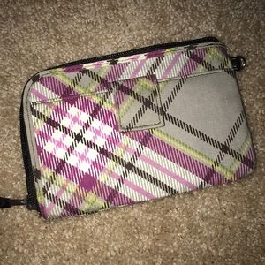 Plaid zip around wallet